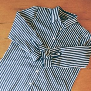 Ralph Lauren Navy Stripe Cotton Button Down Shirt